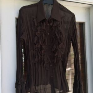 ❤️NOTATIONS Dark Brown Decorative Front Blouse